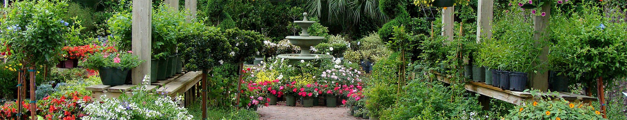 garden shop with several images and fountain